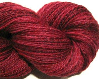 Handspun yarn, Candy Apple, DK weight, 2 ply, 470 yards, crimson yarn, red yarn, hand dyed BFL wool, knitting supplies, crochet supplies