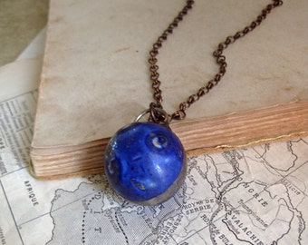 Bennington Blue Clay Marble Pendant Long Necklace OOAK Jewelry