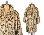 80s faux fur leopard swing coat/ 1980s animal print coat