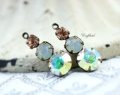 Set Stones Vintage Swarovski and Preciosa Crystals in 1 Ring 23mm Antique Brass Prong Settings Light Peach, Sand Opal & AB Crystal - 2