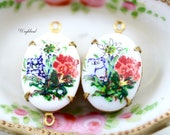 Vintage Oval Flower Set Stones Connectors Charms Pendant Floral Settings Red Blue White 18x13mm - 2