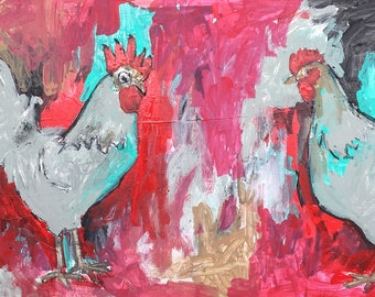 """Reclaimed Wood Painting - Mr. and Mrs. - Acrylic Painting 22"""" x 10.125"""""""
