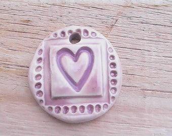 My Heart. Handmade clay pendant. Polymer clay pendant.