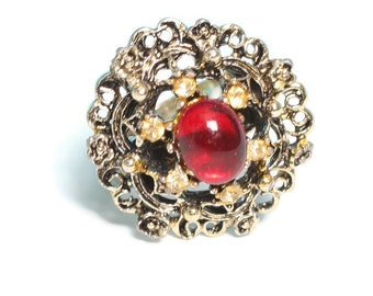 Red Glass Cabochon Ring Yellow Rhinestones Adjustable Vintage