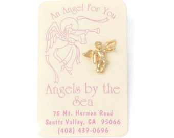 Angel Tac Pin Gold Tone on Card Vintage Angels by the Sea