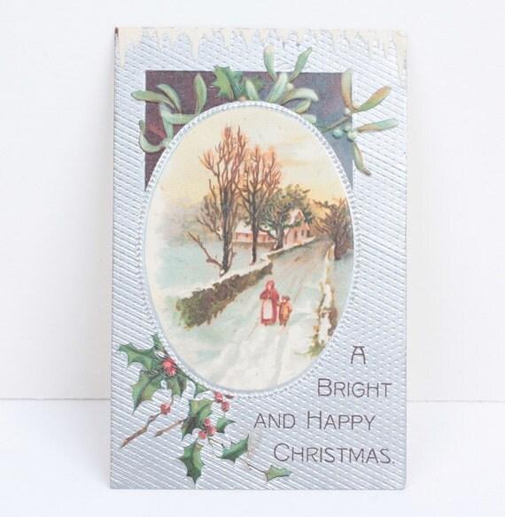 A Bright and Happy Christmas Postcard Vignette Antique Postcard