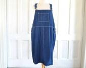 Denim Overalls Dress Blue Denim Bib Dress - Plus Size - XXL