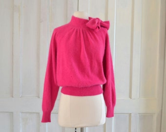 Angora Bow Tie Fuchsia Pink Sweater Alain Manoukian Vintage Fuzzy Sweater