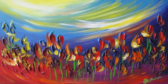 rainbow tulips flower landscape dream garden impressionism blue pink red petals painting