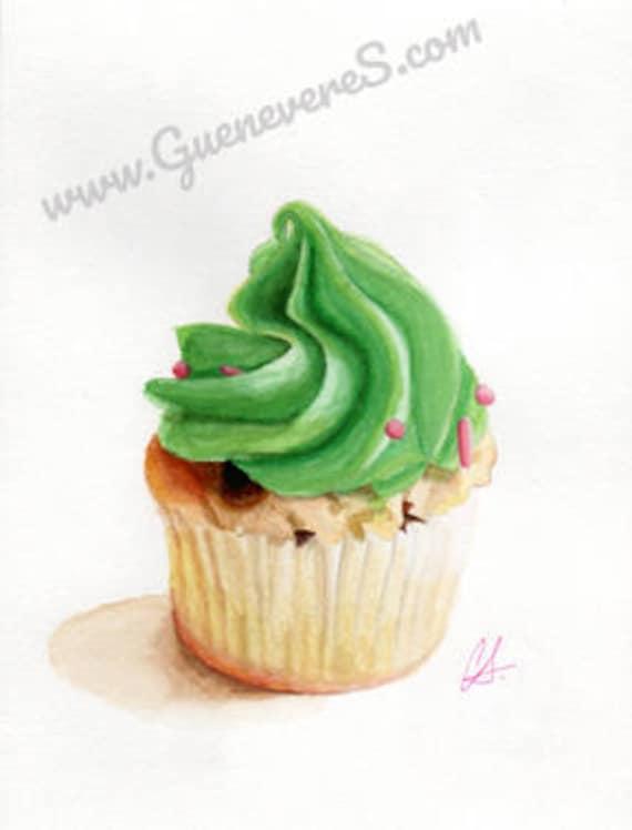 Mint Chip Cupcake (left) watercolor original painting