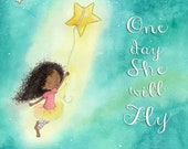 One Day She Will Fly - African American Girl with Shooting Star - Art Print