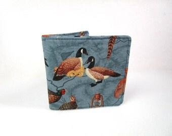 Men's Fabric Billfold / Wallet / Ducks / Handmade / Washable / 9 Pockets