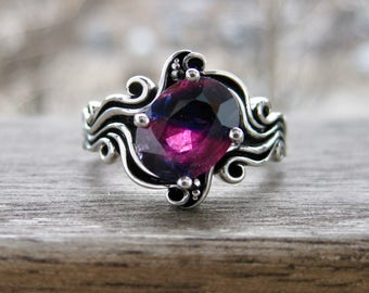 Cerise Red Ruby Ring in 14K White Gold in Ocean Sea Surf Themed Setting with Blackened Waves Size 7