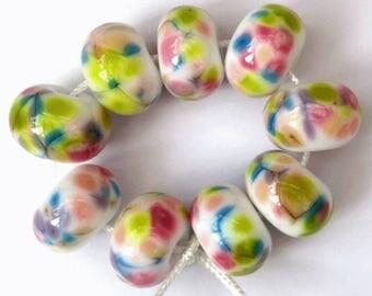 White and Multicolour Artisan Lampwork Beads SRA
