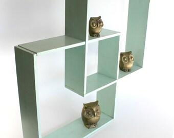 Vintage Cube Shadowbox Shelf Wood Mint Green Mid Century Modern Wall Decor