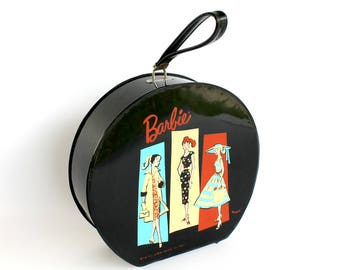 Vintage Barbie Doll Travel Case Round Hat Box Style 1961 Black Vinyl  Luggage Storage Tote Collector Gift