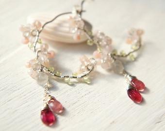 Pink Gemstone Silver Earrings, Cherry Blossoms Jewelry, Pink Tourmaline Earrings, Sakura Japan