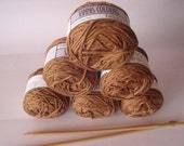 Yarn 100% pure cotton 50g skein DK light worsted weight toffee brown antique from South Africa colorfast yarn