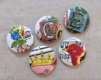 Retro Vintage Style Musical Notes Music Floral Letters Crown Bird Birds Flowers-Handmade Large Fabric Covered Buttons(1.5 Inches, 5PCS)