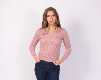 Vintage 70s Crochet SWEATER / 1970s Dusty Pink Semi Sheer Open Weave Knit Jumper