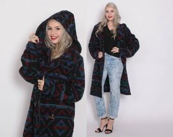 Vintage 80s BLANKET COAT / 1980s Native SW Inspired Tribal Wool Hooded Maxi Coat