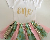 Australia Day Sale Pink Gold and Mint Fabric Tutu Skirt//First Birthday//Cake Smash Outfit//Tutu and Onesie//Tutu