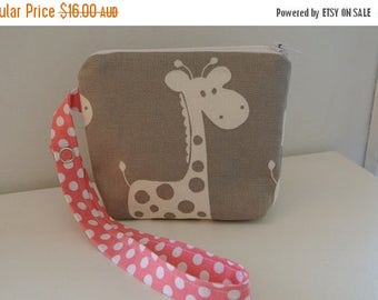 4K SALE Dummy/Pacifier - In Grey Giraffe Print with Pink Dots - READY To Ship