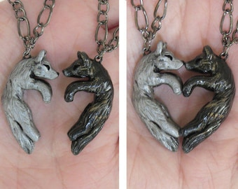 Wolf Love Necklace His and Hers Heart Kissing Couple Black and Silver