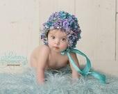 sitter bonnet, baby bonnet, sitter flower bonnet, sitter hat