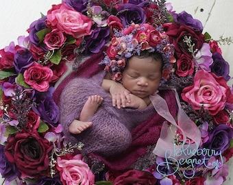 newborn wreath and matching bonnet and headband combo, newborn photo props, flower wreath and bonnet matching set