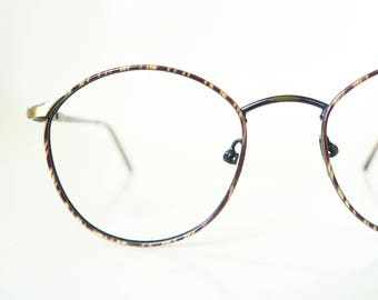 1980s Round Womens Glasses Geek Chic Wire Rim Tortoiseshell Tiger Stripe Cat Bronze Metallic Brushed 80s Eighties Nerdy