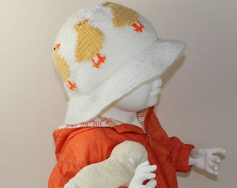 50% OFF SALE Instant Digital File pdf download knitting pattern Baby & Child Easter Chick Sun Hat knitting pattern