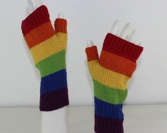 50% OFF SALE Rainbow Fingerless Gloves knitting pattern by madmonkeyknits -instant digital file pdf download knitting pattern