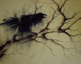 "Original Crow Drawing Charcoal Raven Art  6x8"""