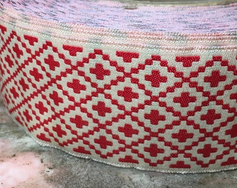 "Vintage Jacquard Sewing Trim RED SOUTHWESTERN CROSS Wide Upholstery 1.75"" by the yard"