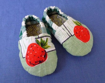 Strawberry fruity feet baby shoes, upcycled fun, fabric baby slippers