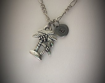 Personalized Palm Tree necklace * palm tree charm necklace * charm necklace * Personalized * monogram