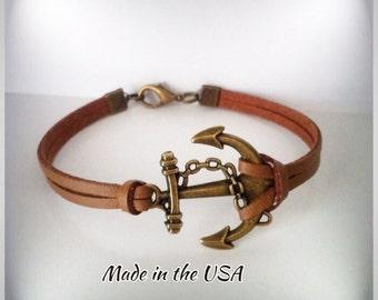 Leather Anchor bracelet Anchor jewelry Nautical bracelet Men's bracelet Gift For Her Gift for Him Charm Bracelet Friendship bracelet