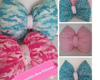 Bow Pillow - READY to SHIP Reversible Kids Toss Pillow, Pink Camo / Polka Dots, Blue Camo / Paisley, Nursery Decor, Girls Bedroom Pillow