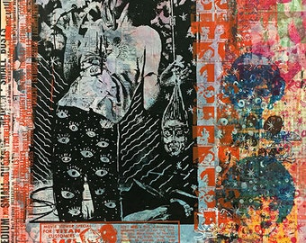 "Untitled #5 (38""x48"" monotype/screenprint on birch wood panel)"