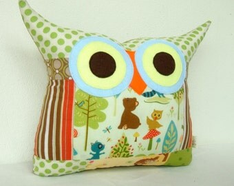 Large size owl pillow/Green /blue/polyfil Stuffed little owl pillow/decoration/express shipping