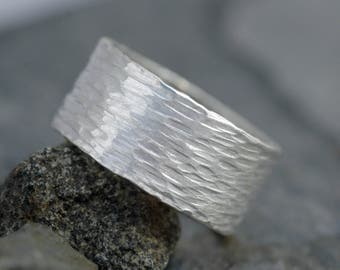 Hammered 3/8 Inch Textured Sterling Silver Band- Custom Made to Order Wedding Band