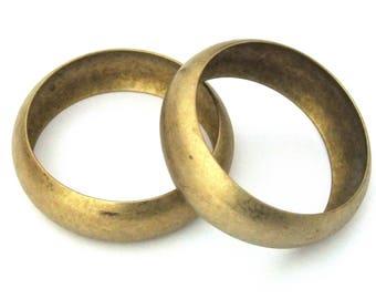 Raw Brass Domed Bracelet Bangle Blanks 1 inch Pkg Of 2