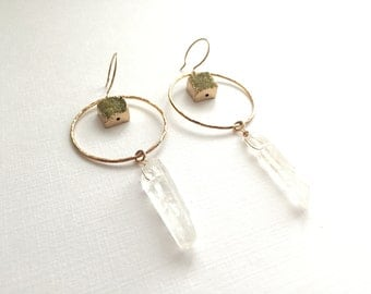 Druzy and Crystal Earrings