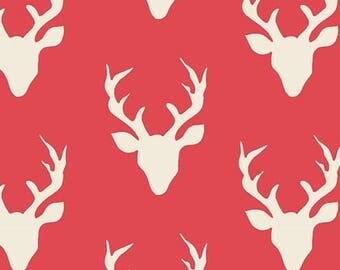Hello Bear Buck Forest Carmine Art Gallery Fabric, Choose your cut