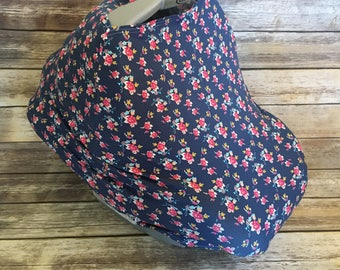 Car Seat Cover, Nursing Cover, Shopping Cart Cover, All In One Cover, Jersey Car Seat Cover, Art Gallery Abloom Floral Navy