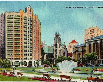 Vintage Missouri Postcard - The Sunken Garden, St. Louis (Unused)