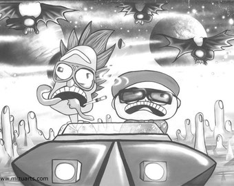 Rick And Morty Meets Fear And Loathing  - Coloring Book Page - Instant Digital Download - Desert Landscape DIY Printable Art