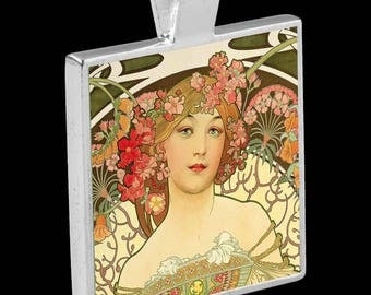"Silver Pendant with Necklace - featuring ""Champagne Printers Publisher""  by Alphonse Mucha"