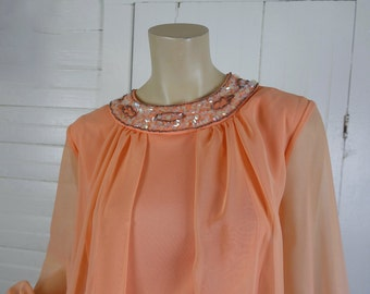 70s Formal Dress in Peach Chiffon- 1970s Long Sleeve & Sequin- Extra Large- 60s